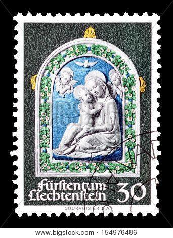 LIECHTENSTEIN - CIRCA 1971 : Cancelled postage stamp printed by Liechtenstein, that shows Madonna and child.