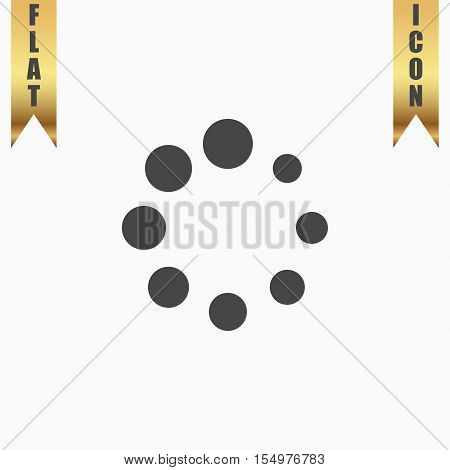 Loading, Streaming, Buffering, Play, Go. please wait. Flat Icon. Vector illustration grey symbol on white background with gold ribbon