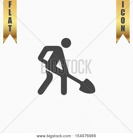 Building site. Flat Icon. Vector illustration grey symbol on white background with gold ribbon