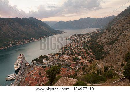 Old church inside Stari Grad, Kotor, Montenegro. Kotor bay and Old Town from Lovcen Mountain. Montenegro.