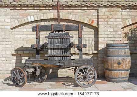 Old Wine Press. Traditional Old Technique Of Wine Making, Wooden Antique Grape Press.