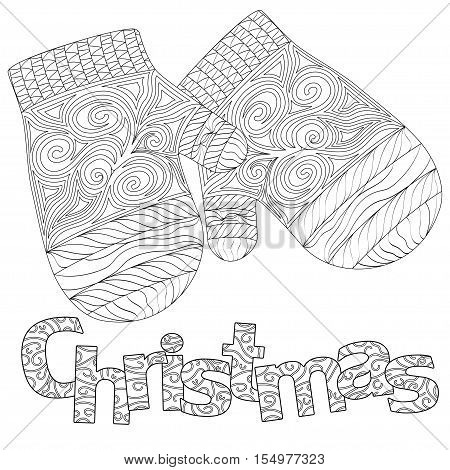 christmas pattern for adult coloring book greeting card zen art isolated on the white background