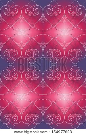 Abstract seamless background. Filigree lacy pattern reminiscent of the heart. Easy to change colors.