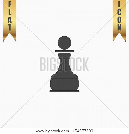 Chess Pawn. Flat Icon. Vector illustration grey symbol on white background with gold ribbon