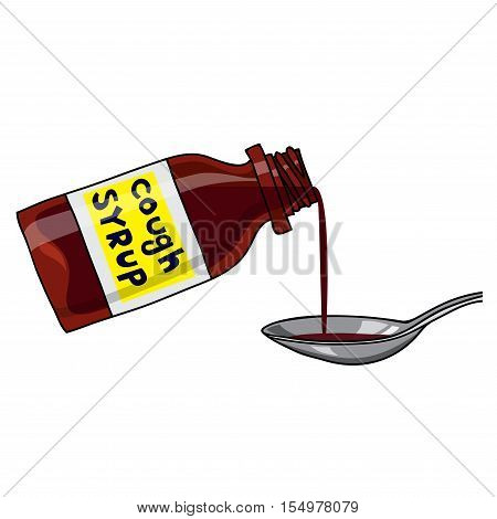 Vector medicated syrup, cough syrup / brown color bottle with liquid and a spoon. Label with text. Cartoon style.
