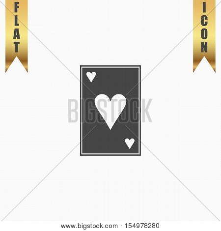 Hearts card. Flat Icon. Vector illustration grey symbol on white background with gold ribbon