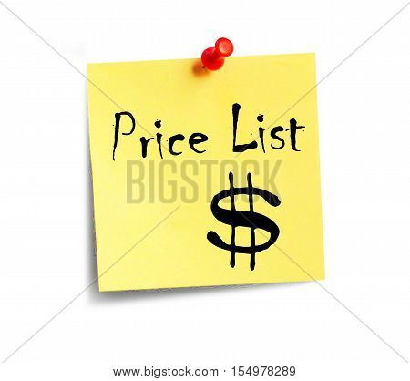 The yellow sheet of paper with the inscription Prise List