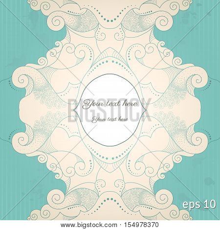 Vector vintage background. Filigree frame striped paper and blots. Place for your text. Easy to change colors
