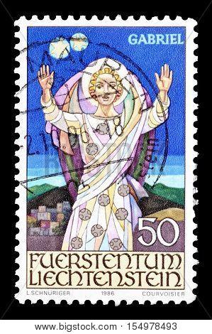 LIECHTENSTEIN - CIRCA 1986 : Cancelled postage stamp printed by Liechtenstein, that shows Angel Gabriel.