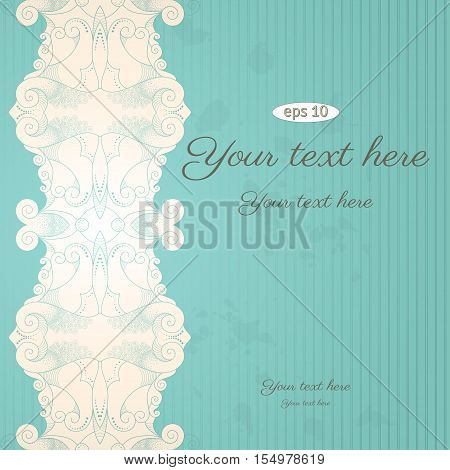 Vector vintage background. Filigree frame and grungy paper. Place for your text. Easy to change colors