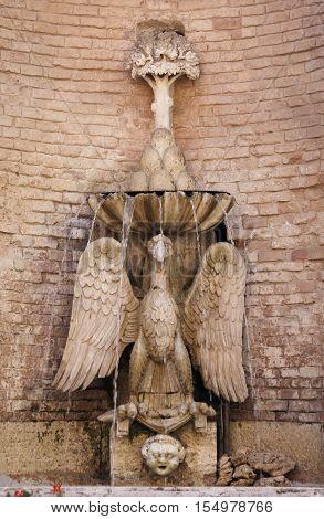 Rua Fountain in the downtown of Todi, Italy