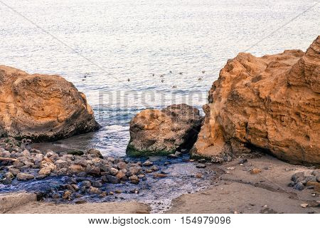 View of a rocky coast with nice colorful huge cliff and sea on the backgrounnd