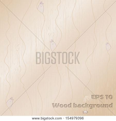 Vector background. Wood texture and forest creatures.