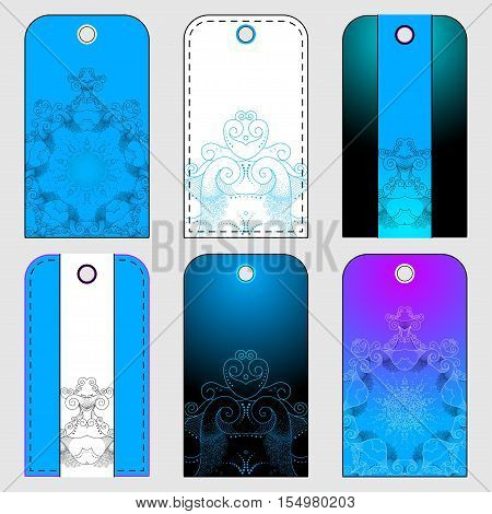 Set of six tags with abstract pattern. Colors are easily editable. Marine theme.