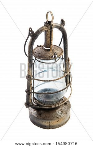 Old classic rustic oil lamp isolated on white background