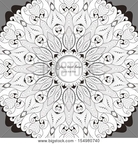 Card with round lace patterns. Place for your text.