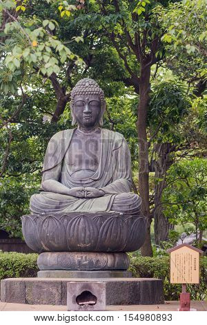 Tokyo Japan - September 26 2016: Closeup of bronze statue of the meditating Buddhasitting on lotus pedestal in garden at Senso-ji Buddhist Temple. Green foliage. Sign.