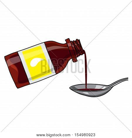 Vector medicated syrup, cough syrup / brown color bottle with liquid and a spoon.  Bottle with label. Cartoon style.