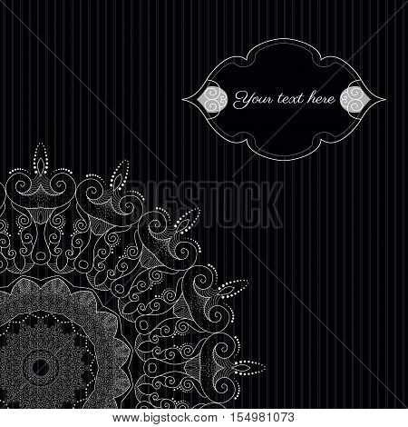 Abstract background with sample text. Decor is delicate and filigree. Perfect as invitation or congratulation. Color easily changed.