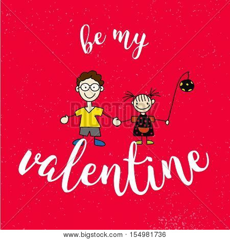 Be My Valantine Quote With Two Comic Kids On Red Vintage Background
