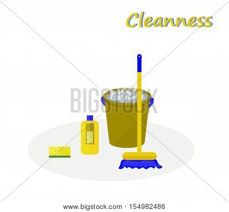 Tools for cleaning: a green bucket with soapy foam, broom with yellow handle and blue bristles and bottle of detergent with a blue cover. White background. Vector illustration