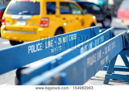 Wooden Police Barricades In New York