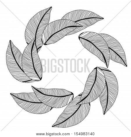 Floral pattern. vector round drawing with leaves. uncolored foliage