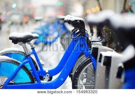 Rental City Bikes Covered With Snow In New York