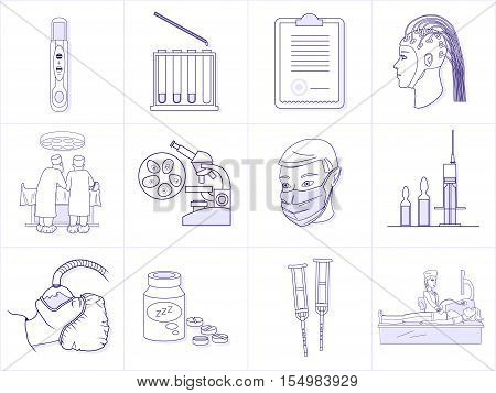Set of healthcare professionals and medical equipment. Premium quality outline symbol collection. Simple mono linear vector illustration. Stroke vector for web and print graphics.