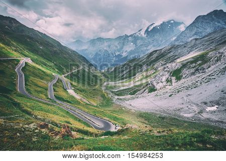 Amazing sunrice on the top of grossglockner pass, Alps, Switzerland, Europe. Toned