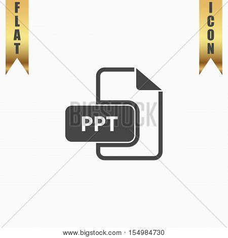 PPT extension text file type. Flat Icon. Vector illustration grey symbol on white background with gold ribbon