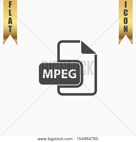 MPEG video file extension. Flat Icon. Vector illustration grey symbol on white background with gold ribbon