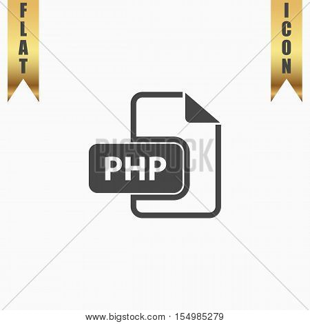 PHP file extension. Flat Icon. Vector illustration grey symbol on white background with gold ribbon