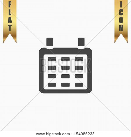 Calendar. Flat Icon. Vector illustration grey symbol on white background with gold ribbon