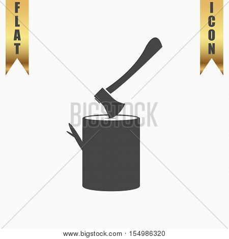 Tool lumberjack ax in a wooden deck. Flat Icon. Vector illustration grey symbol on white background with gold ribbon