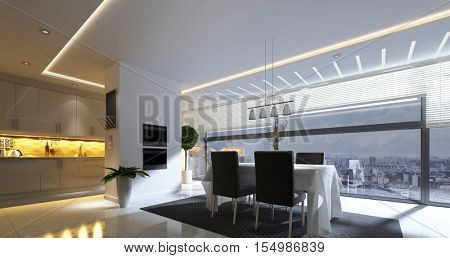 3D rendering of modern dining room with ceiling lamp and nearby kitchen area in spacious apartment home