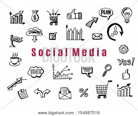 Social media business doodles, items. Hand drawn design elements. Vector illustration.