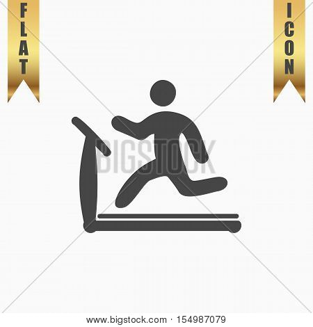 Running, treadmill. Flat Icon. Vector illustration grey symbol on white background with gold ribbon