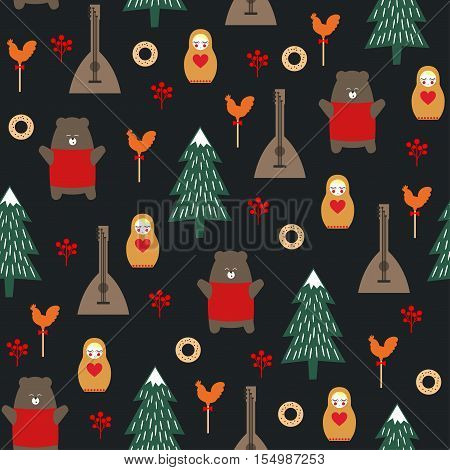 Russian symbols seamless pattern on dark background. Cute cartoon illustration with bear, fir tree, balalaika, nested doll. Russian design for wrapping paper, textile, fabric etc. Child drawing style.