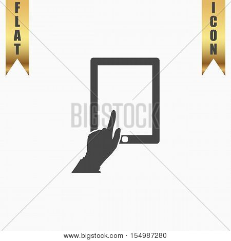 Touch screen tablet. Flat Icon. Vector illustration grey symbol on white background with gold ribbon