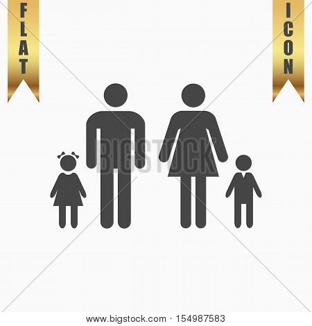 Family. Flat Icon. Vector illustration grey symbol on white background with gold ribbon