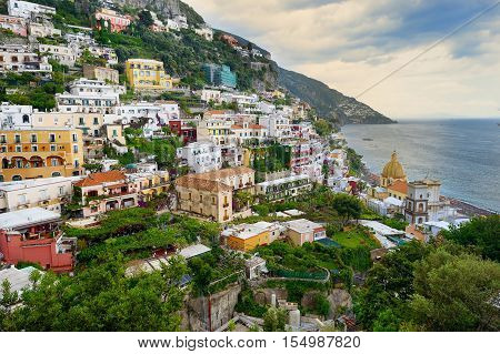 Scenic View Of The Beautiful Town Of Positano In Italy