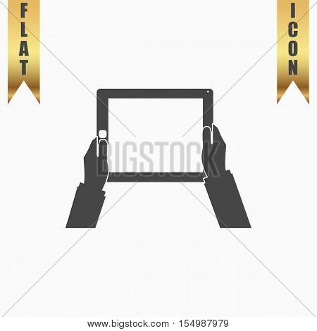Hands holding tablet computer with blank screen. Flat Icon. Vector illustration grey symbol on white background with gold ribbon
