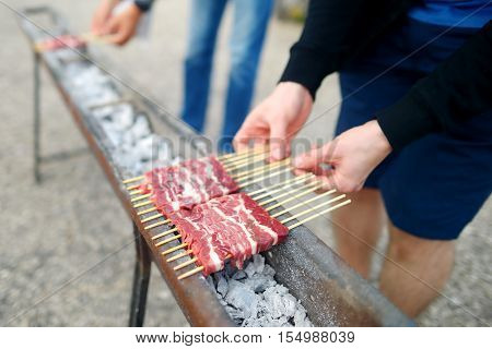 Barbecue With Arrosticini, A Typical Italian Small Skewers