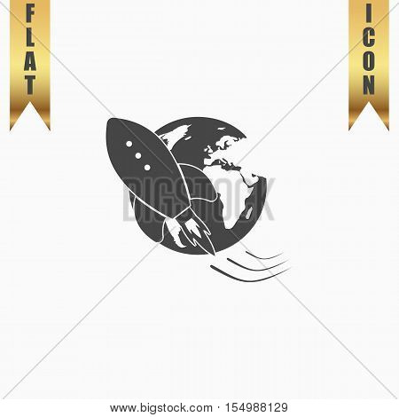 Rocket go to deep space. Flat Icon. Vector illustration grey symbol on white background with gold ribbon