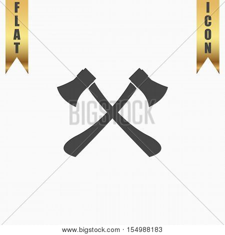 Two axes with wooden handles. Flat Icon. Vector illustration grey symbol on white background with gold ribbon