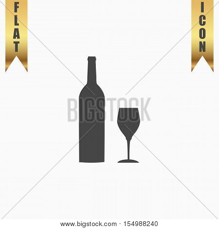 Bottle of wine and glass. Flat Icon. Vector illustration grey symbol on white background with gold ribbon