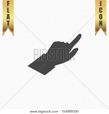 Hand Cursors. Flat Icon. Vector illustration grey symbol on white background with gold ribbon