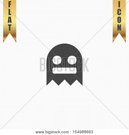Kawaii cute ghost. Flat Icon. Vector illustration grey symbol on white background with gold ribbon