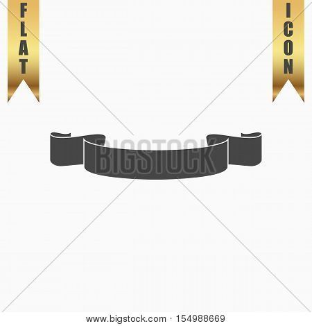 Simple ribbon. Flat Icon. Vector illustration grey symbol on white background with gold ribbon